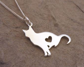 Sitting Kitty Sterling Silver Pendant on Chain
