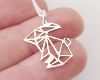 Sterling silver Origami inspired Bunny Pendant