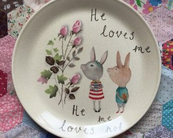 He Loves Me He Loves Me Not Stubborn Bunnies Vintage Illustrated Plate