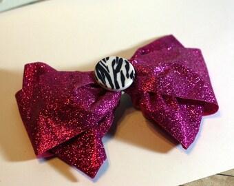 Hot Pink Glitter Hair Bow with Zebra Stripe Plastic Bead Center 6 inch Handmade