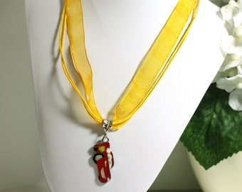 Yellow Necklace With Lightning McQueen Cars Charm boys racecar charm necklace