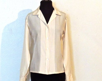 vintage Dior top - 1960s Christian Dior ivory silk button-down blouse