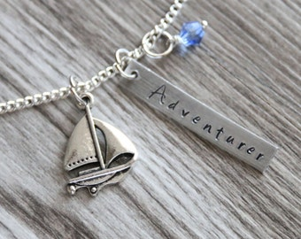 Sailboat Gift Hand Stamped Pendant, Personalized Name and Birthstone Necklace, Explorer Necklace, Sailing Necklace Jewelry Gift Sailor Gifts