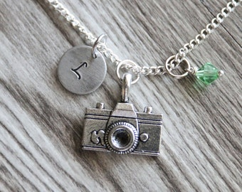Camera Gift Necklace,  Personalized Initial Necklace, Birthstone Charm, Customized Necklace, Photographer Necklace, Photographer Gifts
