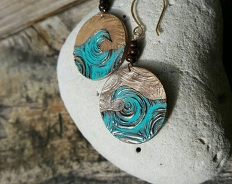 Wave Earring Ocean Love Bronze and 14 Karat gold-filled