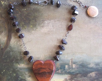 Mauchline Ware Heart Pincushion Necklace