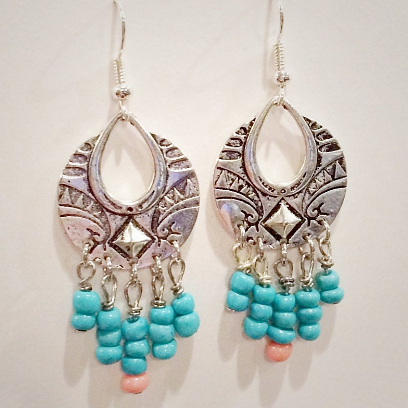 tribal boho earrings turquoise and coral by inpfestivalclothes
