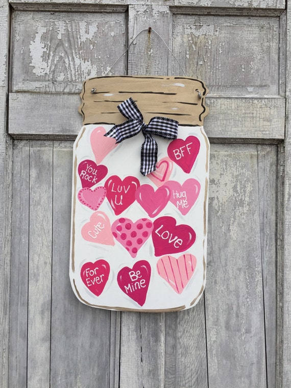Valentine Mason jar  door hanger, Valentine Door hanger, Mason jar door hanger,  Valentine sign, Personalized Valentine  door hanger