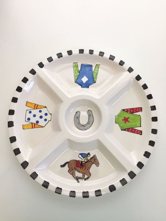 Kentucky Derby party platter, Horse racing platter, Derby serving platter, Horse racing plate, Derby party tableware, Derby pottery