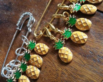 Tropical Pineapple Set of 5 Snag Free Knitting Stitch Markers Stitch Holder WIP Progress Place Keepers Crochet Knitters Friend fun Knit Gift