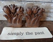 Vintage Tulip Book Ends Syroco Wood Great Details