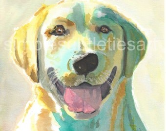 """Yellow Lab- watercolor print 8""""x8"""" by Stacey DeGrace"""