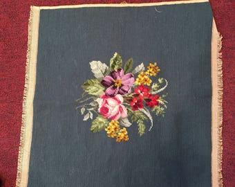 """Beautiful Floral Needlepoint Piece, with Teal Background.  21"""" X 22"""""""