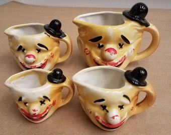 Vintage Set of 4 Clown Measuring Cups