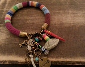 Amulet Charm Bracelet Bohemian Gypsy Multicolored Peruvian Bangle Colorful Striped Crochet Tube Tassel Bracelet Boho Jewelry