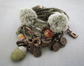 Olive Green Suede Wrap Bracelet Multi Strand Cuff, Pom Pom Bracelet Infinity Charm, Bohemian Bracelet with Coins, Padlock Bracelet Red Agate
