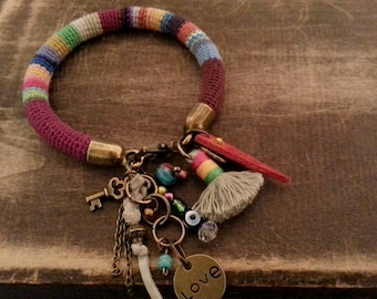 Amulet Bracelet, Charm Bracelet Bohemian Gypsy, Evil Eye Bracelet Colorful Peruvian Bangle, Tassel Bracelet Boho Jewelry Crochet Tube Bangle