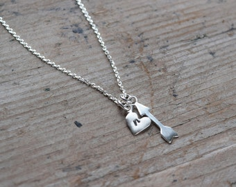 Silver arrow and heart necklace -anniversary gift - gift for mom - birthday gift stocking stuffer