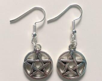 Pentagram  Silver Tone Charm Earrings
