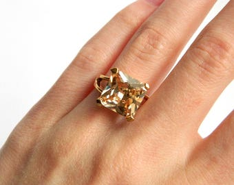 Vintage Gold Champagne CZ Solitaire Cocktail Ring - 5 Carats Square Princess Cut - Size 7 - ESTATE - Brilliant