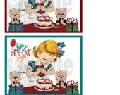 Yorkie Birthday notecards, clip art, graphic, original drawing,  digtial, download, printable
