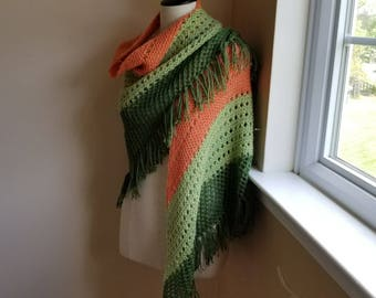Orange and Green Fringed Lace Shawl - Alpaca and Wool