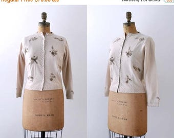 25% OFF 1960's brown cardigan. floral. 50's embroidered sweater. wool. tan. 60 cardigan. m. l.