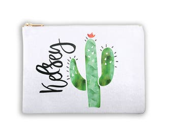 Cactus Personalized Lined Cosmetic Bag Monogrammed Makeup Bag Personalized Bridesmaid Gift Bag Personalized Coin Purse Canvas Tote Southwest