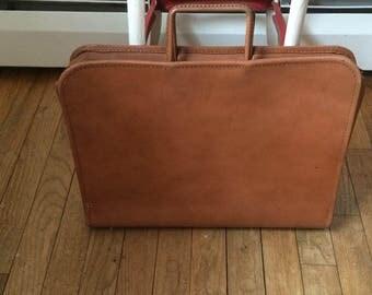 60's Leather Briefcase Attache Portfolio Jule Genuine Split Cowhide Made in USA Madmen Look Vintage Leather Case