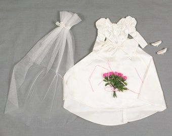 1980s Bride dress for Barbie, Long Veil, Bouquet Bright pink Roses, White high heel shoes, Excellent vintage condition