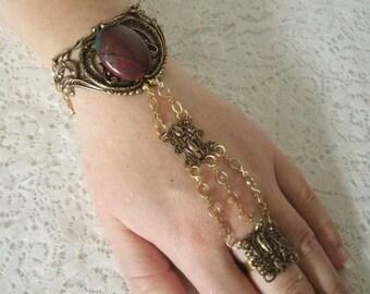 Bloodstone Slave Bracelet, boho jewelry bohemian jewelry gypsy jewelry hipster jewelry moroccan new age tribal fusion hand flower hand chain