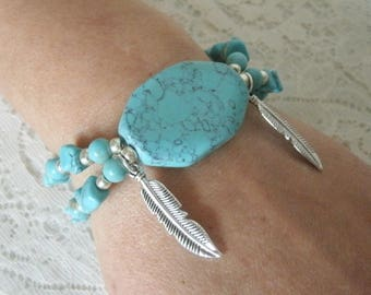 Turquoise Feather Bracelet, southwestern jewelry southwest jewelry turquoise jewelry native american jewelry style country western bohemian