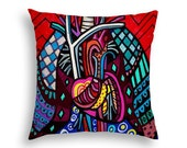 Anatomy Pillow Human Heart Lungs Art Pillow -   -  Modern Abstract Folk Art by Heather Galler Medical Science Anatomy