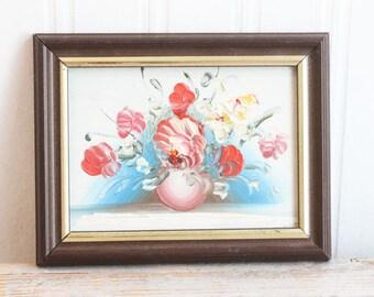 Vintage Painting, Miniature Flower Floral Still Life Painting