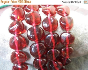On Sale Red 1920's-1930's Art Deco RED GLASS Beaded Hand Knotted Necklace--11711