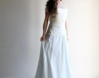 Blue Wedding dress, Simple wedding dress, wedding separates, alternative wedding dress, bridal separates, blue skirt, modest wedding dress