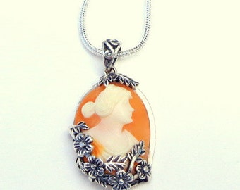 Hand Carved Conch Shell Cameo, Victorian Style Necklace, New Sterling Silver, Filigree Flower Frame, Edwardian Fantasy, OOAK