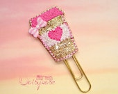 Pink Heart Gold Glitter Coffee Cup Planner Clip Paperclip in gold, pink