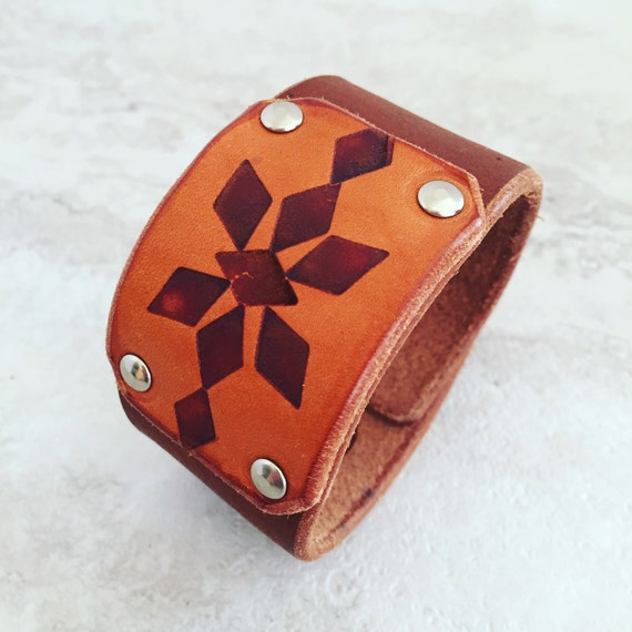 Handmade Women's Tan Leather Cuff Branded