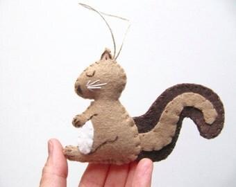 Squirrel Christmas Ornament, Wool Felt Christmas Ornament, Squirrel Chipmunk Woodland Ornament, BROWN Squirrel Ornament