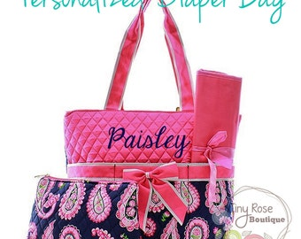 Personalized Diaper Bag, Pink Paisley Monogrammed Baby Tote, Changing Pad, Mommy Bag