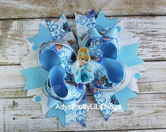 Cinderella Inspired Bow Princess Bow 5 Inch Bow OTT Bows Bottle Cap Bows Blue Bows Girls Boutique Bows Girls Hair Accessories A4
