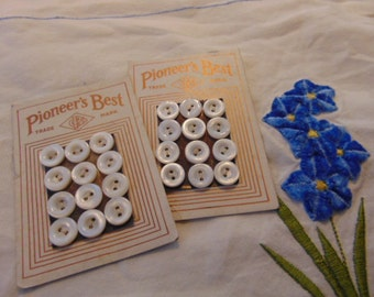 Two Cards Vintage Diminutive Mother of Pearl Buttons