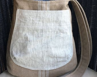 CROSS BODY bucket BAG, grain sack: beige stripe | beige linen exterior pocket | blue, white stripe lining | navy linen interior pocket