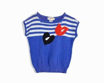 Vintage 80s Nautical Stripe Sweater Top / Heart Sweater - women's small