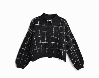 Vintage 90s Cropped Wool Cardigan Sweater by BERGDORF GOODMAN / Black Windowpane Check Cardigan - women's large