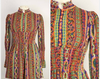micro mini dress 60s 70s vintage groovy mod paisley ruffle neck high waist dress with long sleeves XXS XS