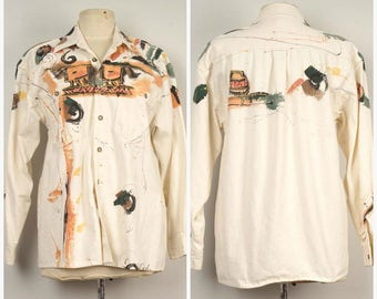 80s vintage hand painted white denim shirt Southwestern artistic wearable original abstract art button up jean canvas shirt