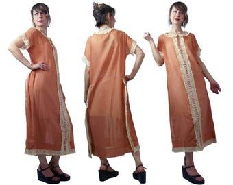 1920s Frances Faire Pumpkin Colored Cotton Day Dress