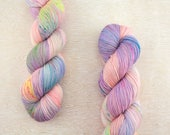 """Rad Sock - """"Spring Fever""""- peach, lavender, and neon yellow speckled yarn - fingering weight superwash merino"""